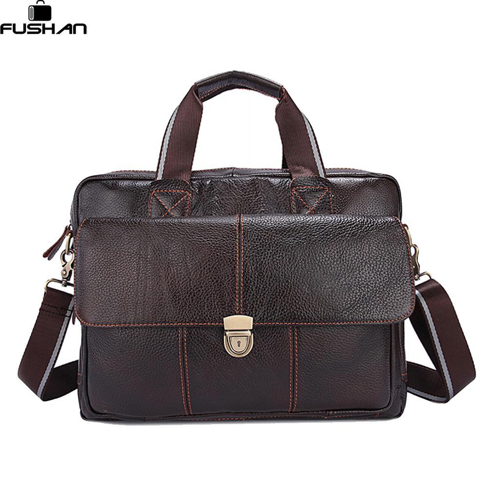 100% Genuine Leather Men Bags Hot Sale Man Messenger Bag Cowhide Leather  Men S Briefcase Male Crossbody Shoulder Fashion Handbag Leather Handbags  Handbags ... 1ce998a3641f8
