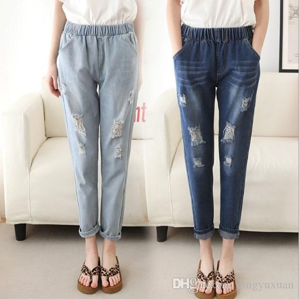 03253ad43e8 Plus Size S-4XL Hole Ripped Jeans Women Elastic Waist Harem Pants ...