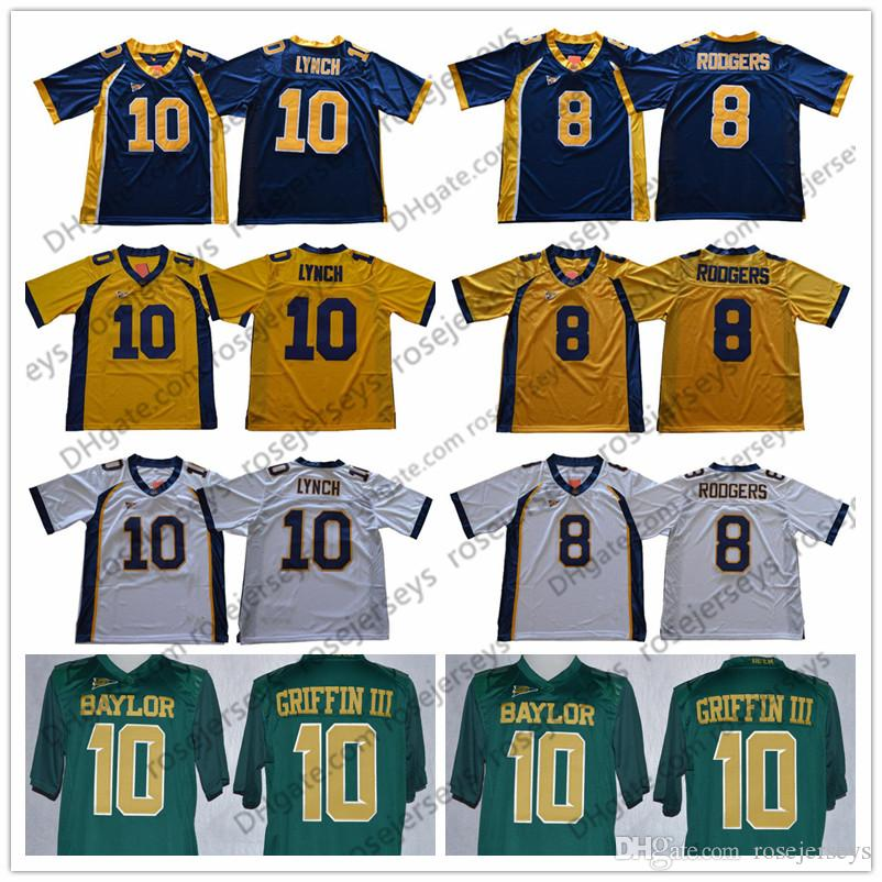 644fa5626 2018 California Golden Bears 8 Aaron Rodgers 10 Marshawn Lynch Navy Blue  White Retro NCAA Baylor Rebort Griffin III Green College Football Jersey  From ...