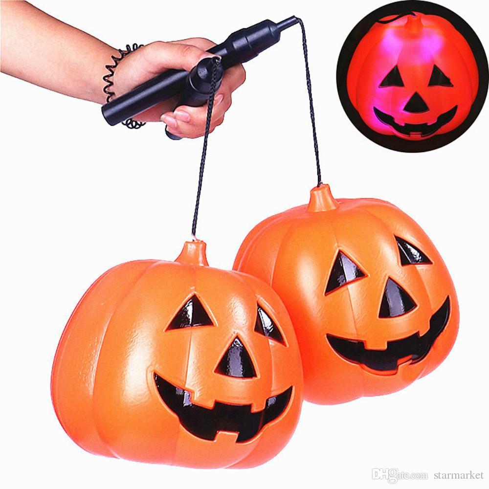 2018 funny halloween decoration portable hollow pumpkin led lantern