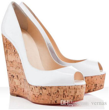 Sexy Ladies Peep Toe + Patent Leather + Wedge High Heels For Women,Fashion Red Bottom Shoes Platform Pumps Red Sole Shoes EU34-42