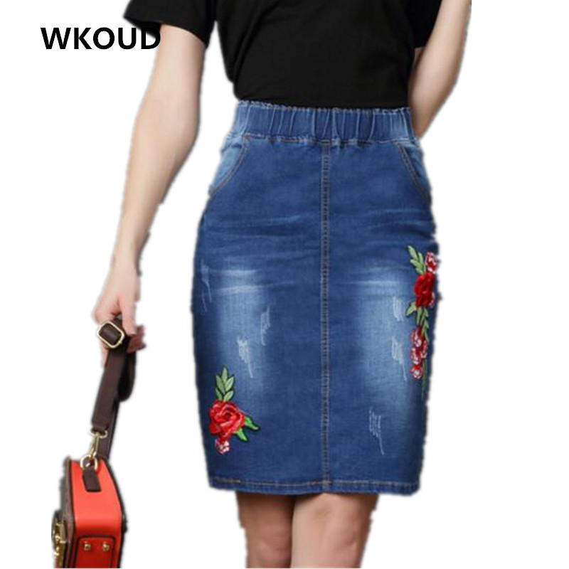 b0e98ef5025b 2019 WKOUD 2018 Embroidery Denim Skirt Women Fashion High Waist Floral  Skirts Casual Jeans New Jag Knee Length Skirt Shorts P8236 From Paluo