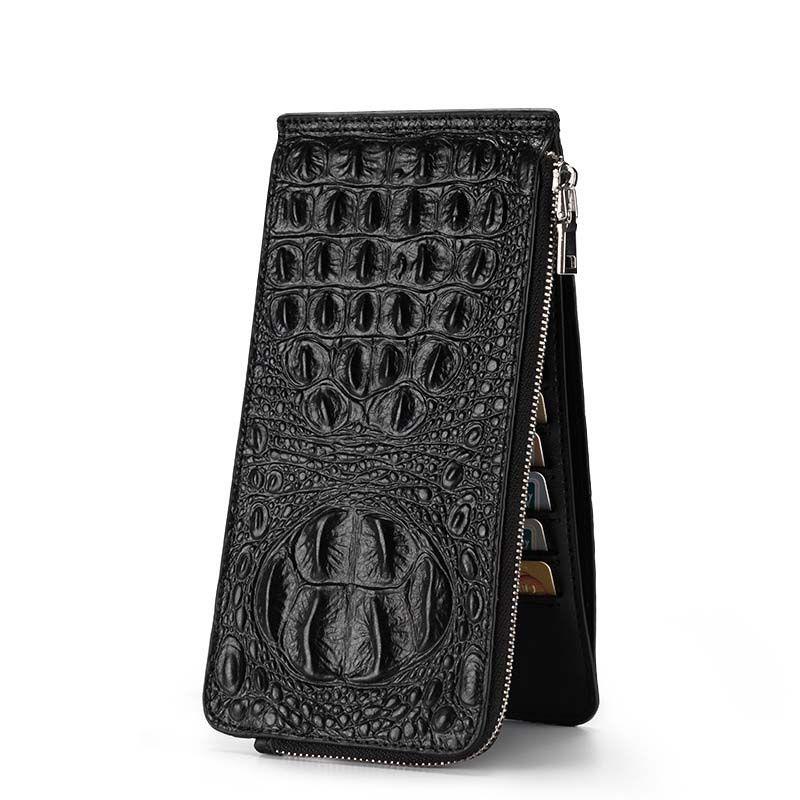 Hohe Qualität Gitter Männer Zipper Lange Brieftasche Männer 2019 Designer Marke Business Pu Leder Geldbörse Multi-funktion Handy Tasche Herrentaschen Geldbeutel