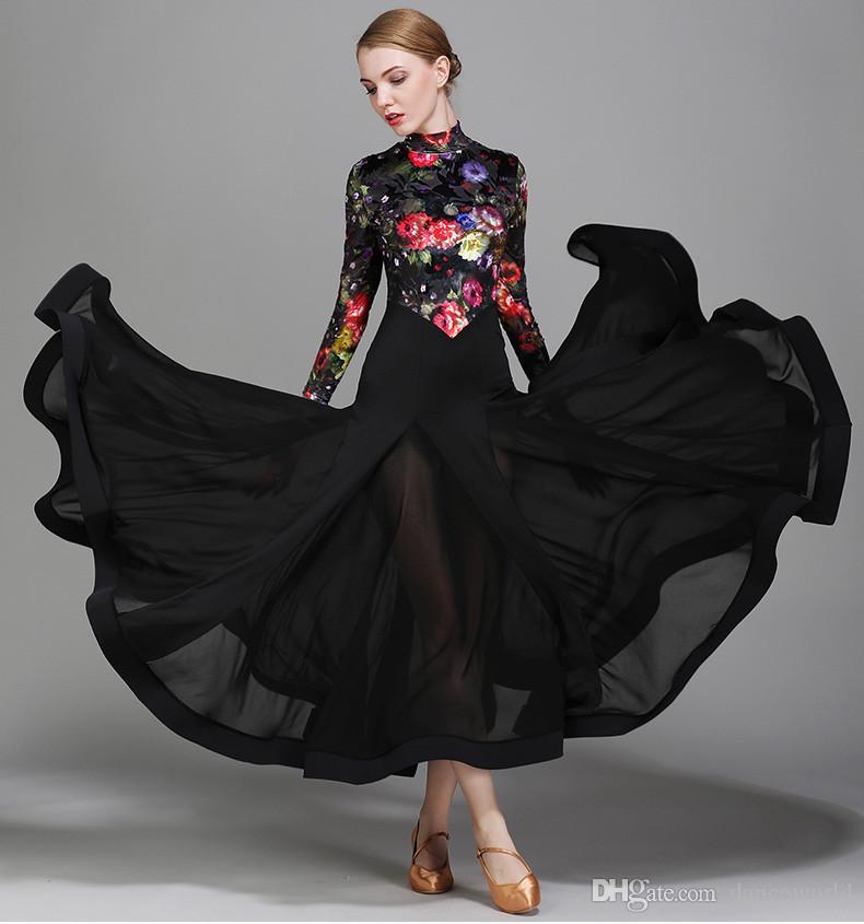 c27532e18 2019 Black Print Ballroom Dance Dresses Standard Ballroom Dress Luminous Costumes  Dresses For Ballroom Dancing Waltz Dress Tango Dancewear From Danceworld,  ...