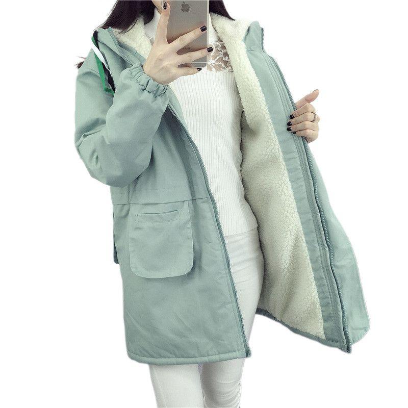 XSJPZH 2017 New Autumn Winter Harajuku Jacket Women Lamb Wool Coats Ladies Pure Color Warm Cotton Outerwear Coat Female YQ319