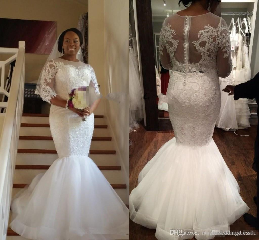 21755a23962 Sexy Lace Mermaid Plus Size Wedding Dresses With Sleeves 2018 Modest South  African Nigerian Illusion Trumpet Fishtail Wedding Gown Wedding Dress Gowns  ...