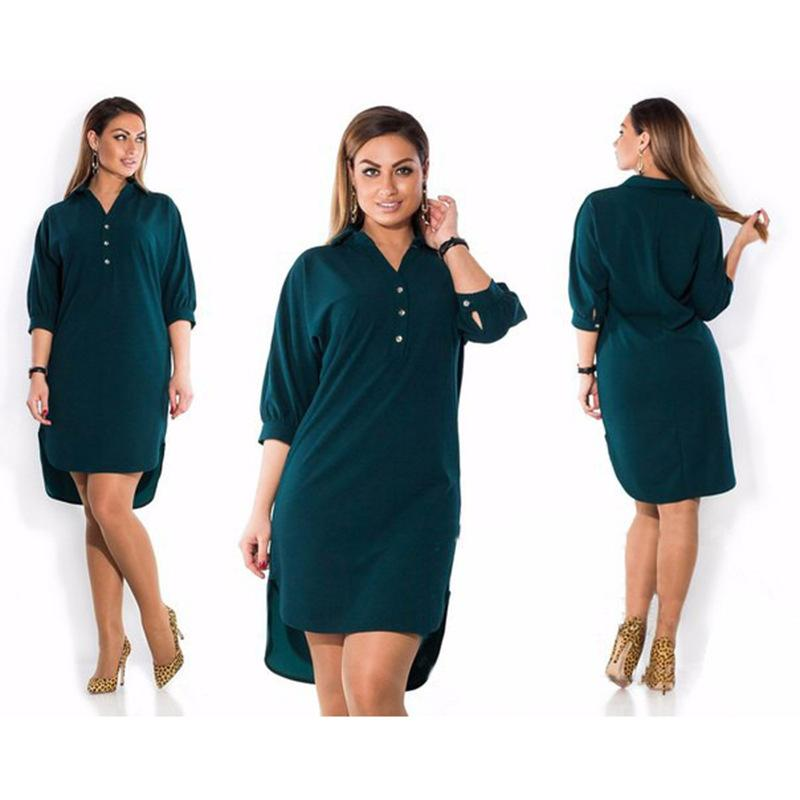 8d6d32f7f3 Compre 2019 Primavera Verano Vestidos Moda Casual Vestido Negro Tamaño  Grande Elegancia Vestido Mujer Ropa Vestidos Plus Size XL 6XL A  26.51 Del  Lixlon02 ...