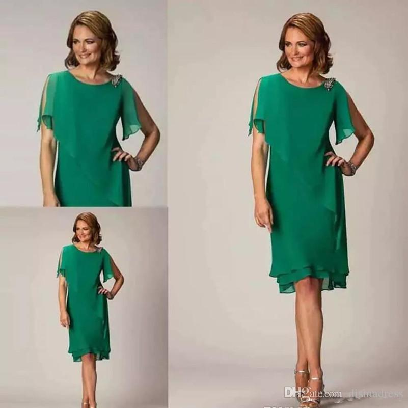 3dfe24953fb Simple Green Chiffon Sheath Mother Of The Groom Dresses Knee Length Short  Wedding Guest Dress Ladies Cocktail Party Gown Mother Of The Bride Dresses  For ...