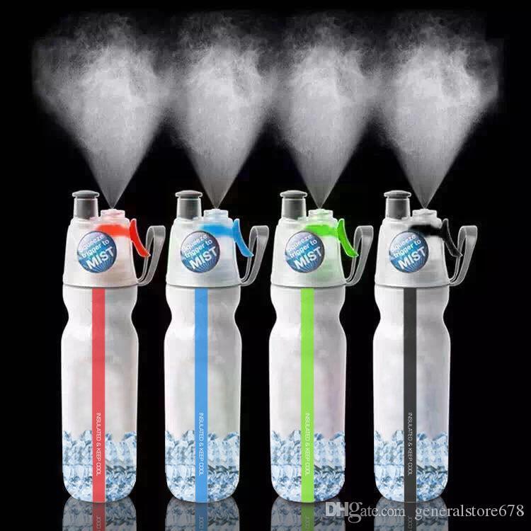 Venda quente Duplo Deck Spray Garrafas de Água Ao Ar Livre Garrafa de Água De Refrigeração De Bicicleta Chaleira De Plástico Portátil Copo de Umidade Da Água