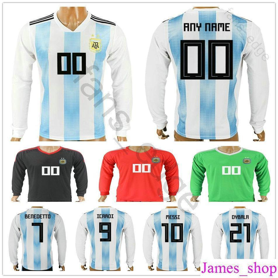 2018 Argentina Long Sleeve World Cup Jersey 10 MESSI MARADONA 20 KUN ... ff7c70e6e