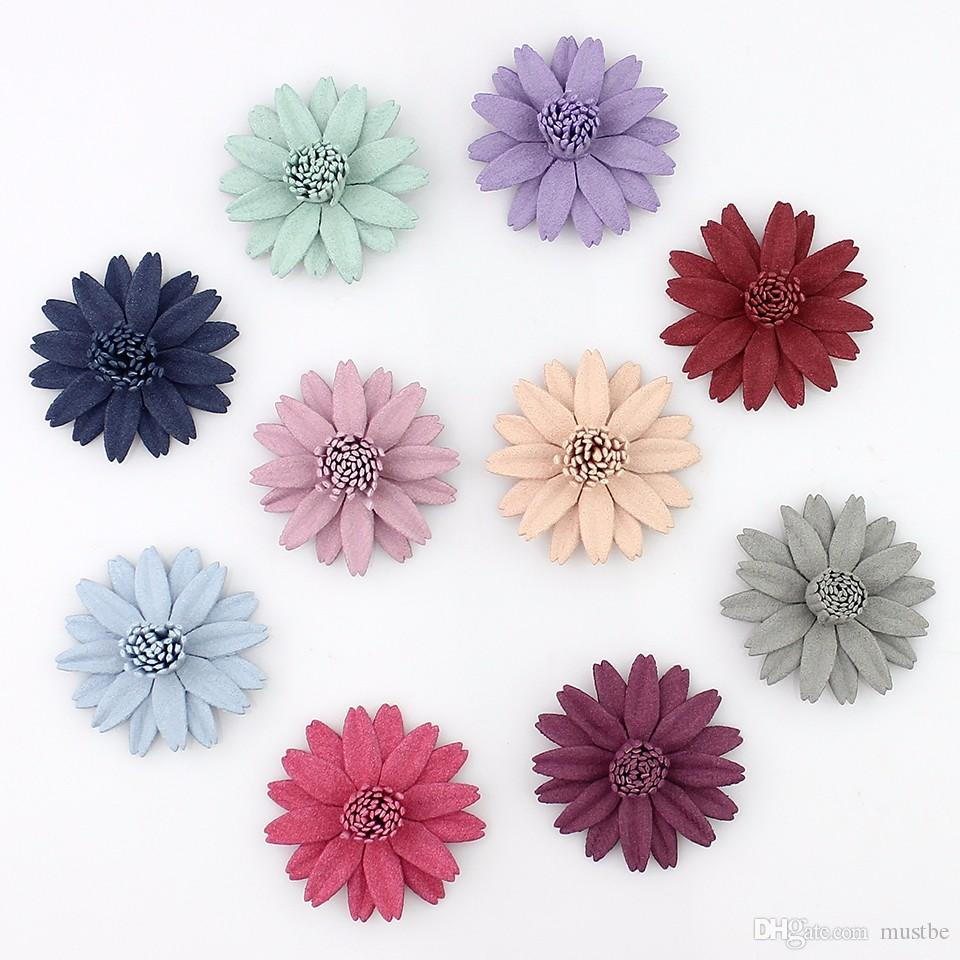 4cm Artificial Fabric Daisy Flower Head for Wedding Festive Decoration Baby Girl Hair Accessories 30pcs/lot