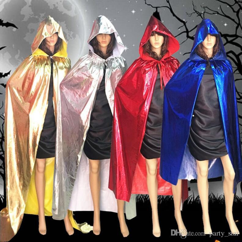 Adult Size Halloween Party Cloak Decorations Cool Grim Reaper Vampire Cosplay Cloak Props Gold Silver Red Black Blue