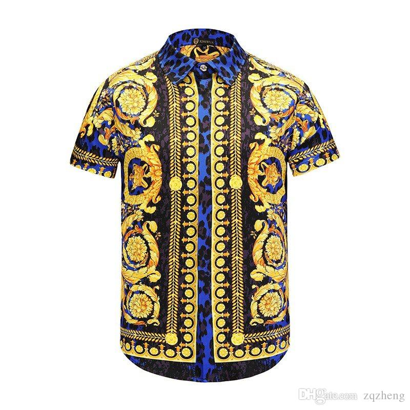 e006be07 Wholesale - Silk Shirt Men's Wave Men's Floral Print Mixed Colors Luxury  Leisure Harajuku Shirts Short Sleeve Patchwork Men Medusa Shirt Medusa  Shirts ...