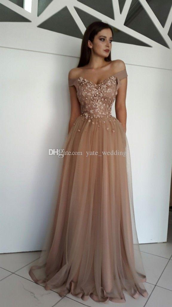 2018 elegante schulterfreie Abendkleider Blumen Perle Tüll bodenlange braune Abendkleider Zipper Up