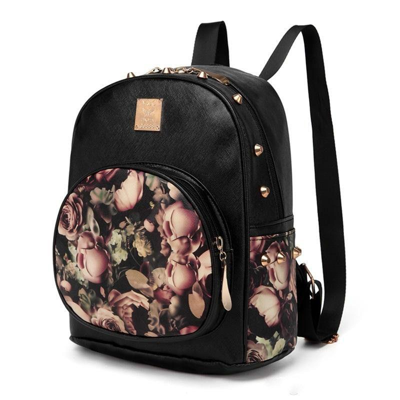 Women Backpacks 3D Printing Floral PU Leather Rivet Backpack Female Trendy  Designer School Bags Teenagers Girls Travel Mochilas Osprey Backpack Tool  ... 8f715a5d87f72