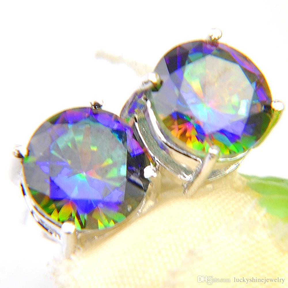 LuckyShine classique ronde arc-en-Topaze mystique Boucles d'oreilles en argent pour les femmes oreilles Studs Bijoux Mode Homme Femme de