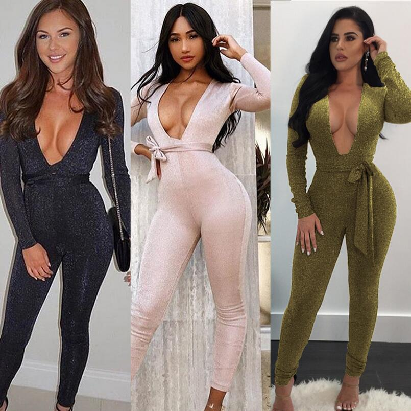 7a850c18f10 2019 Sexy Jumpsuits Women Long Sleeves Jumpsuit Slim Trouser Bodycon  Elegant Rompers Deep V Neck Clothes Casual Spring Autumn Lace Up From  Layette66