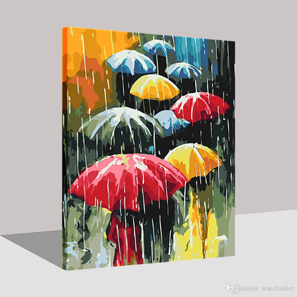 DIY Oil Painting By Numbers Kits Coloring Handpainted In The Rain Colorful The Rain Umbrella Pictures On Canvas Home Decor Art