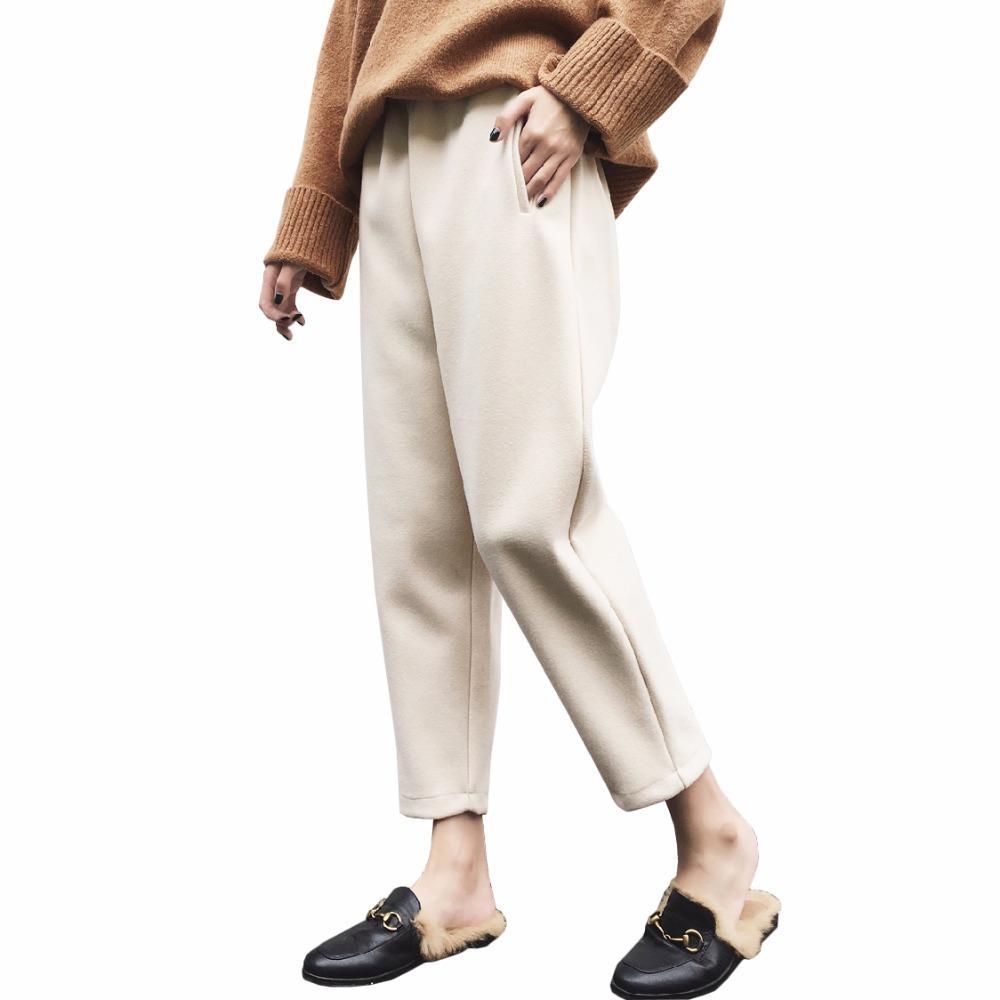 69c1c105e Compre Elegante Outono Inverno Lã Das Mulheres Harem Pants Senhoras Calças  De Lã Quente Plus Size S ~ 6XL Sweatpants Calças De Cintura Elástica  Feminina ...