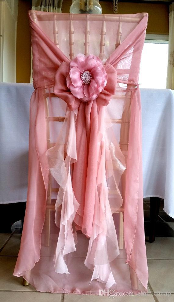 Pink 3D Floral Applique Chiffon New Arrival 2018 Cutsom Made Pin Vintage Chair Covers Classic Wedding Supplies Chair Sashes