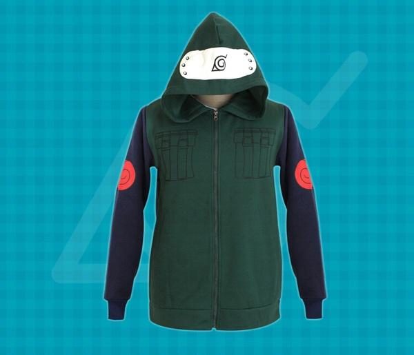 New Cosplay Jacket Naruto Kakashi Sweatshirt Mens Army Green Cosplay Hoody