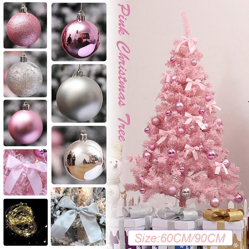 Rosa Weihnachtsbaum.Rosa Weihnachtsbaum Mit Led Licht Diy Künstliche Weihnachtsbaum Xmas Party Urlaub Ornament Home Decor Büro Dekorationen
