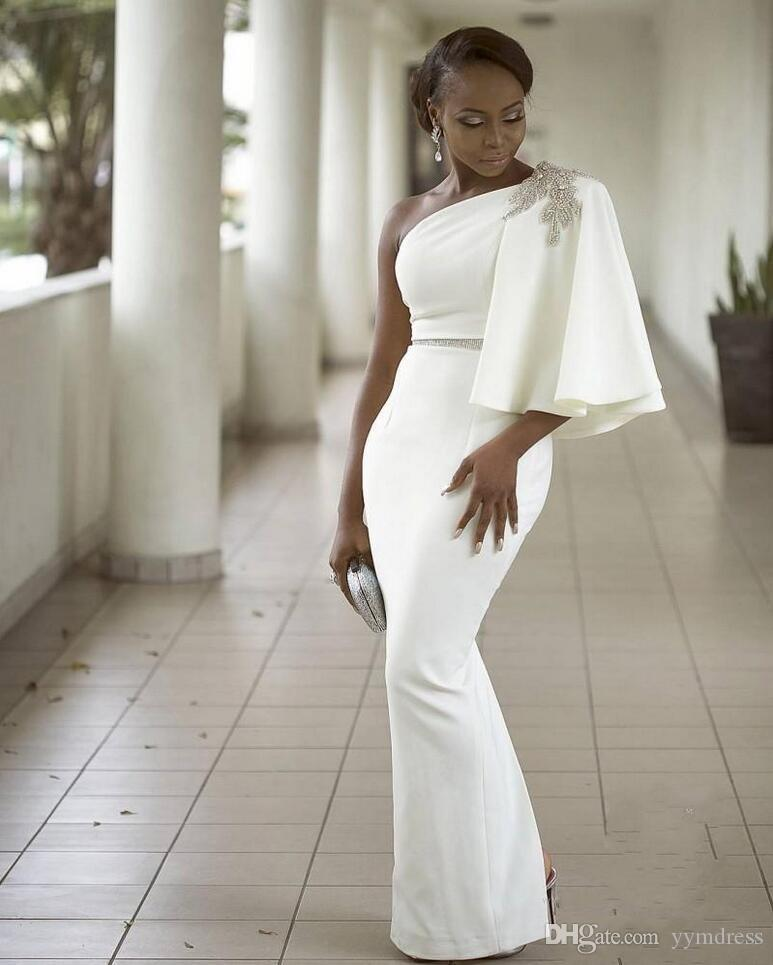 Evening Dresses Wear White One Shoulder Half Sleeves Mermaid Formal Beading African Dubai Women 2019 Long Sheath Prom Robe De Soiree Gown