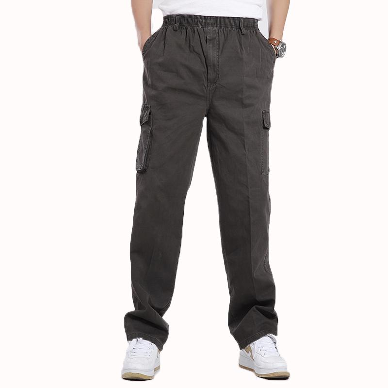 bc1e5a7d2ce8 2019 Man Casual Cargo Pant Male Comfort Trousers Men Cotton Pant With Side  Pockets Mens Elastic Band Waist Trousers Plus Size Bottoms From Biwanrou