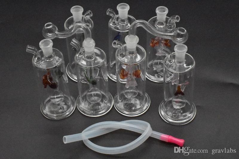 Colorful Mini vetro Dab Rig acqua Bong Tubi Multicolor Recycler Oil Rig con tubo di Banger Pot Bowl