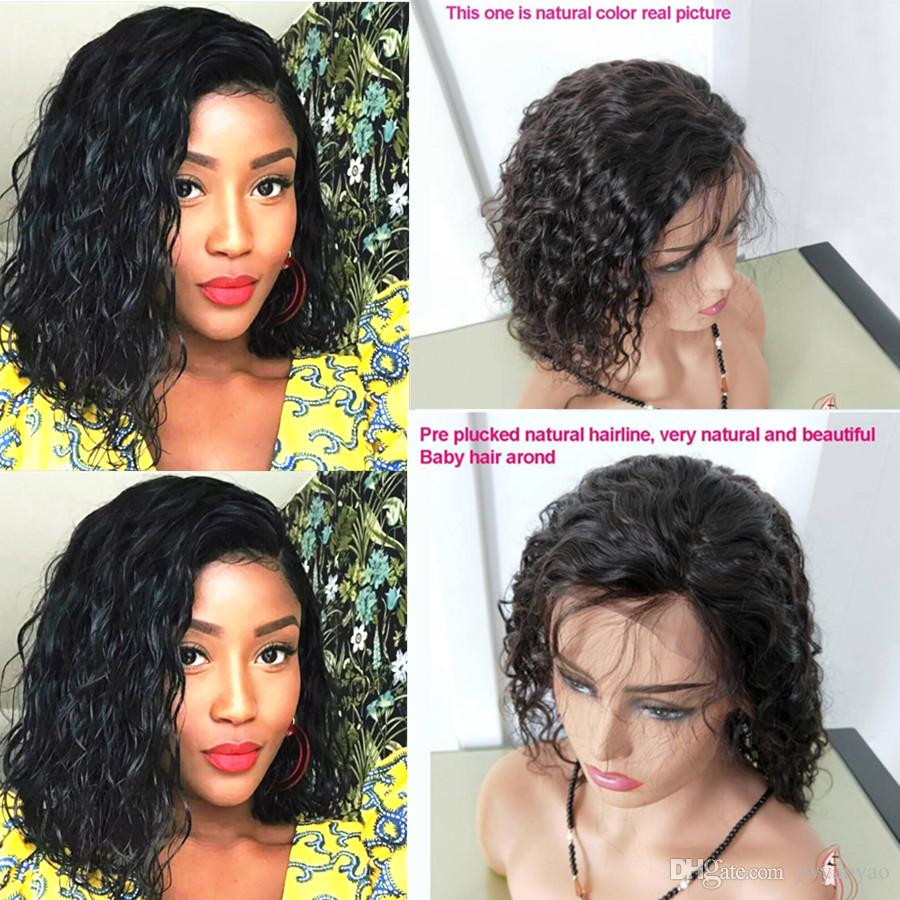 12inch Brazilian Virgin Human Hair Lace Front Wigs Glueless Short Bob Human Hair Wigs natural wave With For Black Women