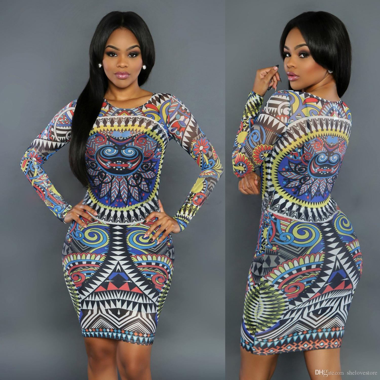 4a139efeaf1f 2019 New Women Dress 2016 Fashion Sexy Traditional African Printed Dashiki  Bodycon Dress Sexy Long Sleeve Dress Vestidos B65 From Lianmeijack