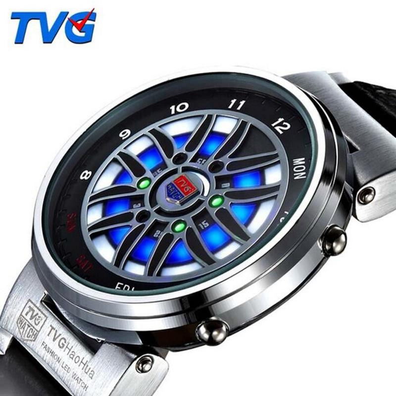 4b1fb0bc89d8 Compre Top Brand TVG Led Reloj Hombre Creativo Ruleta Del Coche Led Azul  Báltico Reloj Binario Hombres Moda Deportes Relojes Relogio Masculino A   35.08 Del ...
