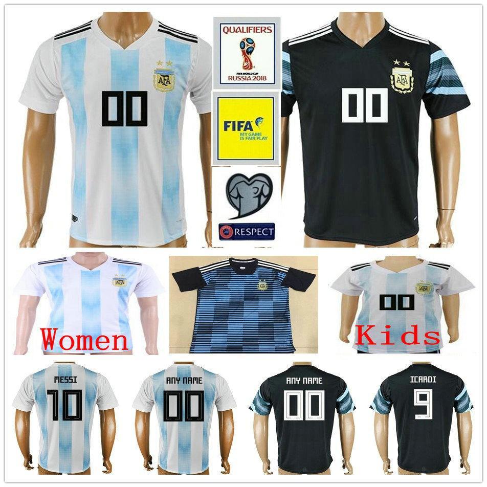 Custom 2018 World Cup Argentina Soccer Jersey 10 MESSI KUN AGUERO ... e6a073971