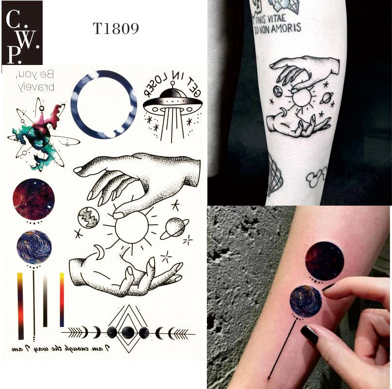 T1809 Space Travel Temporary Tattoo With Line, Planet, Celestial ...