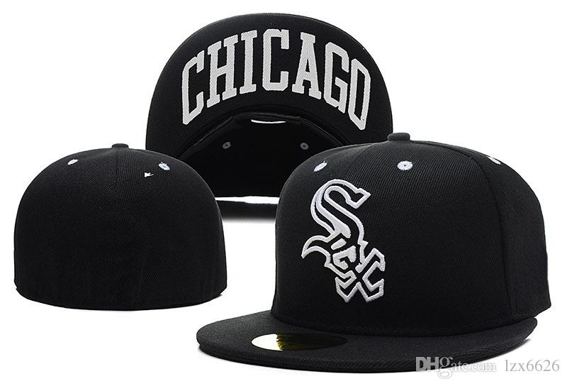 cb02132a1 Top Quality Cheap White sox Fitted Baseball Hats In Full black Color City  Name Under The Flat Brim Sports Team Closed Caps One Piece