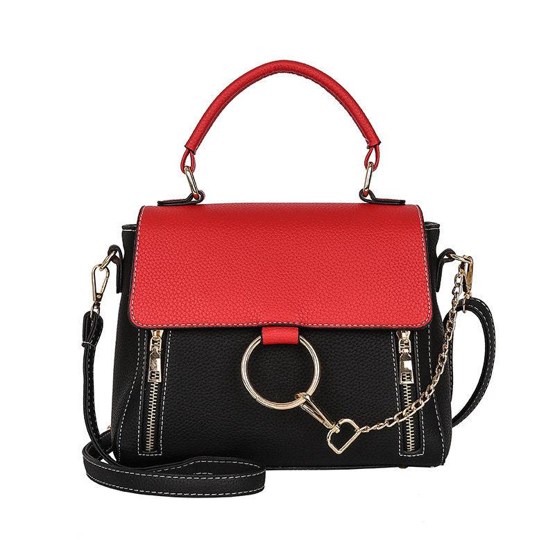 Panelled Color Women Shoulder Bag Female Double Zipper Metal Chain Ring PU Leather Medium Capacity Handbags Lady Totes Flap Bags