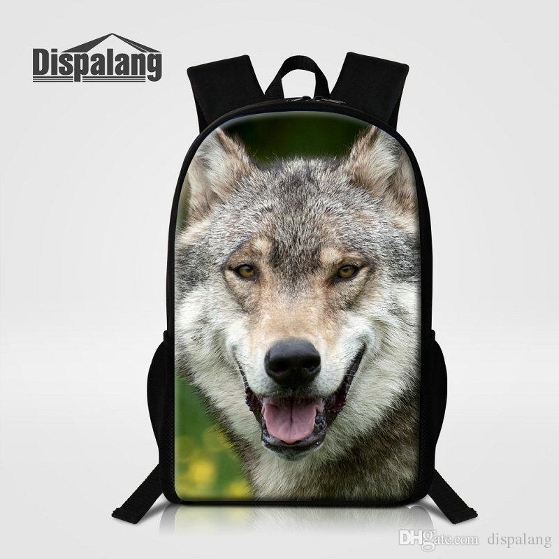 Personality Cool Wolf Lion Animals Children School Bags Backpack ... 3fd5733b03d64