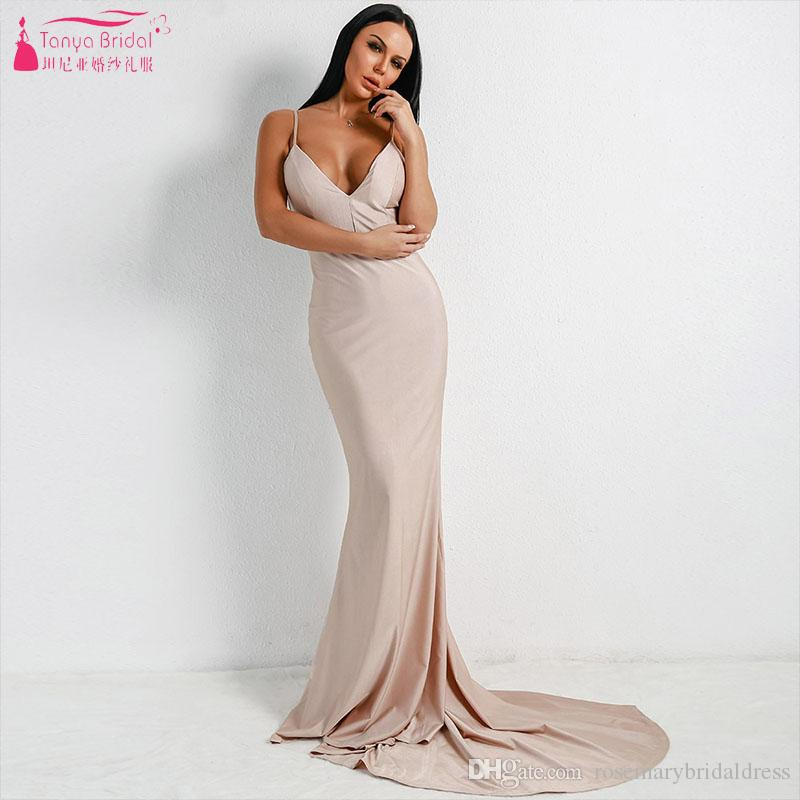 a9148a0f408 Khaki Mermaid Bridesmaid Dresses Deep V Neck Sexy Backless Maid Of Honor  Gowns Vestido De Festa ZB085 Bridesmaid Dresses For Kids Bridesmaid Dresses  Lace ...