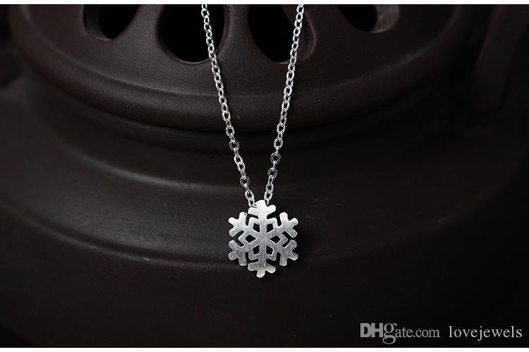 Charms 925 sterling silver pendant necklace Frozen snow female snowflake chain Fashion sets jewelry valentines day gift women China Direct