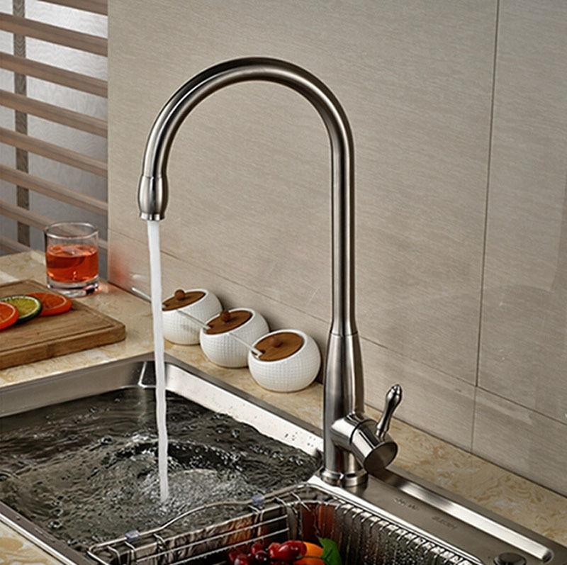 2018 New Arrival Brushed Nickle Kitchen Faucet Tall Tap Hot Cold