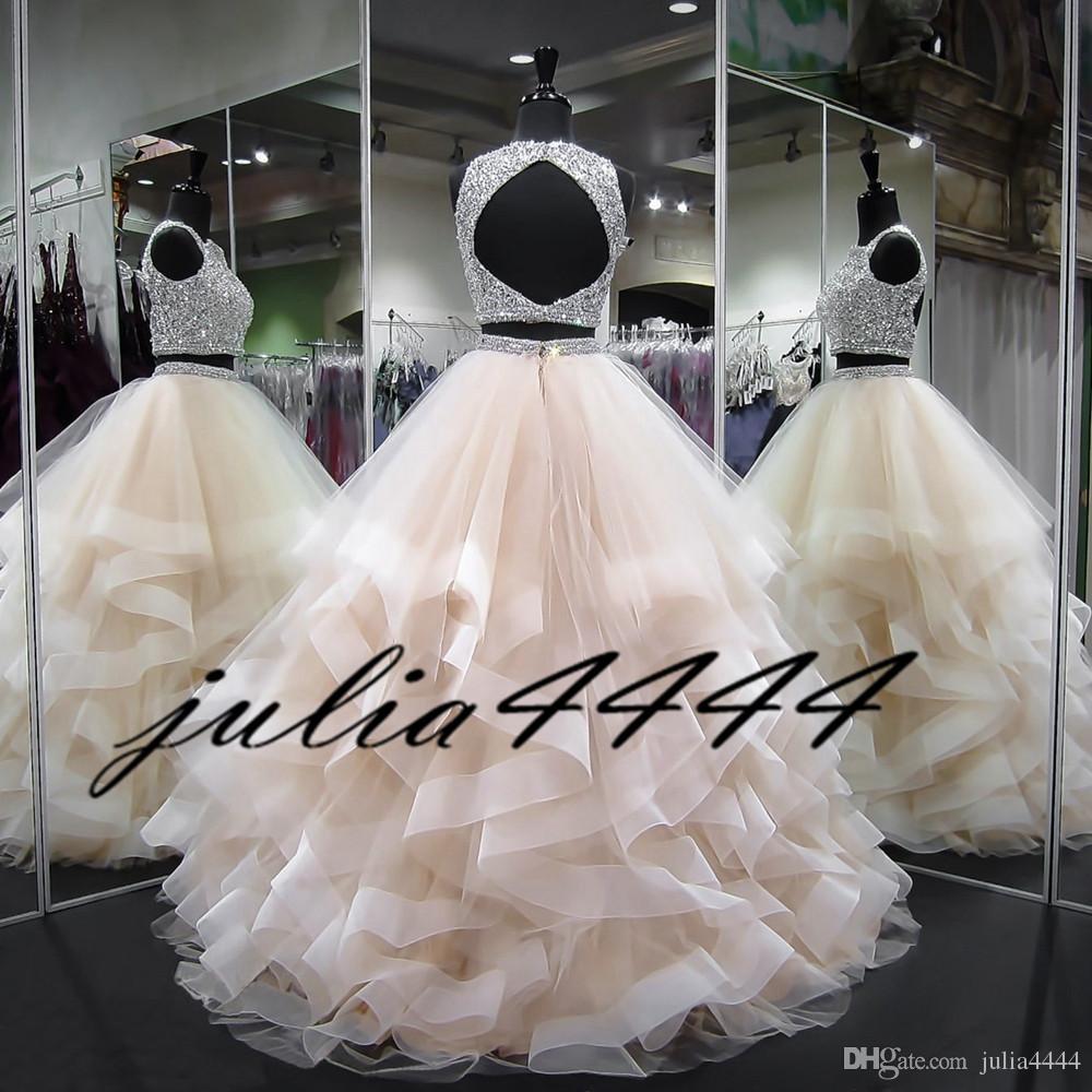 Vestidos de quinceañera de dos piezas Vestido de bola Volantes Cristales Perlas Volantes Tulle 2019 Vestidos de fiesta de color turquesa para niñas Vestido de fiesta