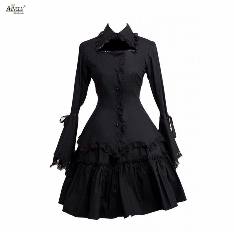 ddf4f31c38 New Arrival High Quality Ainclu Cemavin Womens Cotton Ruffles Cosplay Lolita  Black Gothic Blouse And Skirt Suit With LaceRibbon Women Halloween Costumes  ...