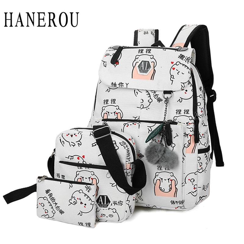 ec763b3d4a31 2018 Fashion Canvas Backpack 3 Pcs/set Women School Backpacks Schoolbag For  Teenagers Man Student Book s Satchel