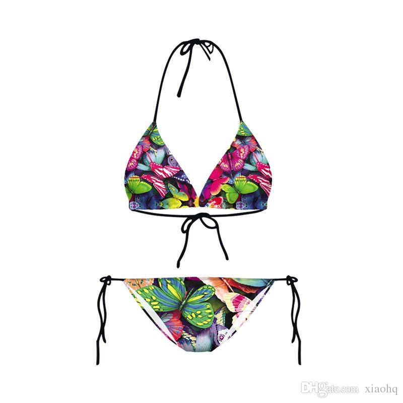 New Design Sexy Girl Summer Colorful Butterfly 3D Prints Thongs Ropes Bikini Set Swimsuit Swimwear Women Bathing Suit