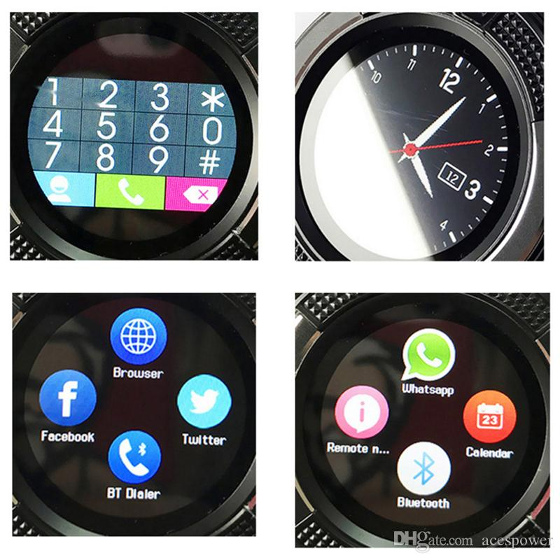 NEW V8 Smart Watch Sport SmartWatch With 0.3M Camera SIM IPS HD Full Circle Display For Android System With retail packaging