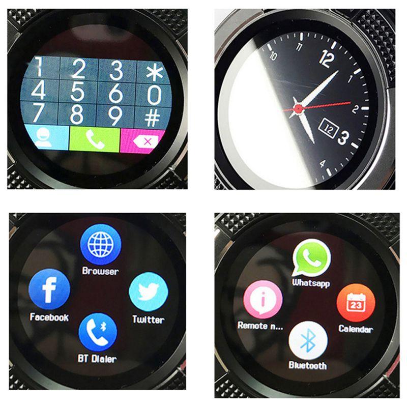 V8 الذكية ووتش الرياضة ساعة ذكية كاميرا SIM IPS HD دائرة عرض كامل لنظام أندرويد مع حزمة