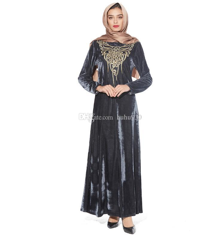 bc0af3c5fd 2019 2018 Elegant Women Muslim Abaya Turkish Singapore Embroidery Velvet  Abaya Jilbab Dubai Muslims Women Dresses Islamic Dress From Huhu930, ...