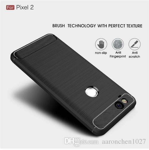 the latest d7479 90db2 Best Sell Google Pixel 2 / 2XL case Luxury Slim Armor Soft Silicone Phone  Back Cover for Google Pixel 2 XL Brushed Carbon Fiber Coque