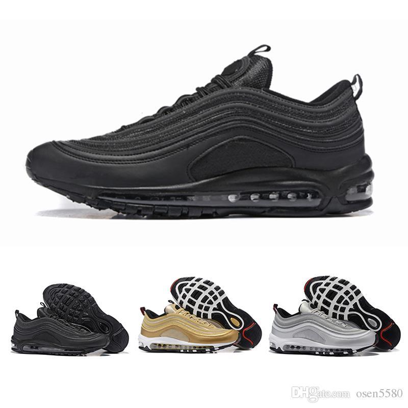 brand new ea9db 3cea0 Acheter Haute Qualité Nouveau Hommes Air Coussin Nike Air Max 97 Respirant  Bas Casual Chaussures Pas Cher Massage 97 S Plat Sneakers Sport Chaussures  En ...