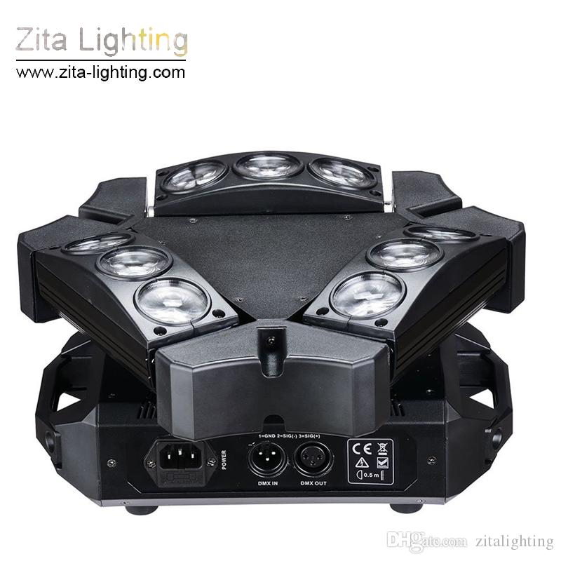 Zita Lighting 9 Eyes Spider light LED Moving Head Lights Rotating Triangle 9X12W RGBW Scanner Beam Stage DMX512 Disco DJ Christmas Effect